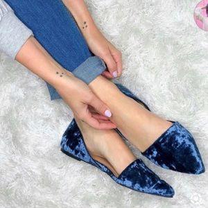 NEW d'Orsay Blue Velvet Loafer Flats - Size 7.5!